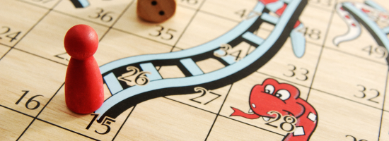 A boardgame of snakes and ladders